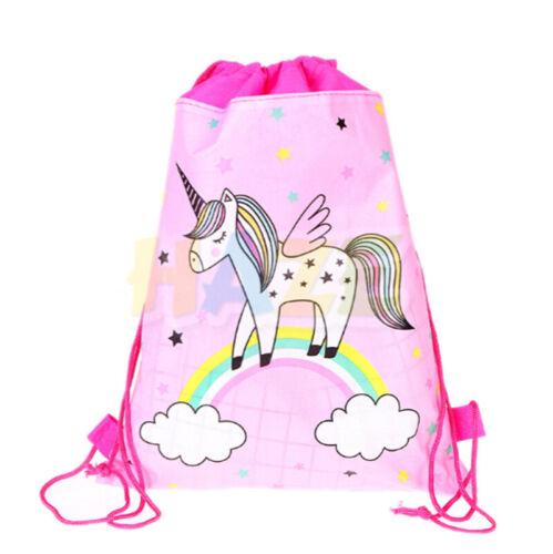 Cartoon Flower Non-Woven Drawstring Bag Kids Swimming Backpack Storage Bag Gift