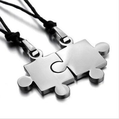 His/Hers Stainless Steel Necklace Matching Love Puzzle Piece Couple Pendants Set (Puzzle Piece Necklace Set)