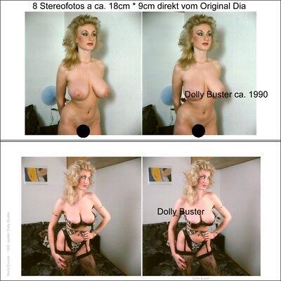 8 Akt Stereofotos von Erotikstar Dolly Buster jung - 1990 direkt vom Farbdia