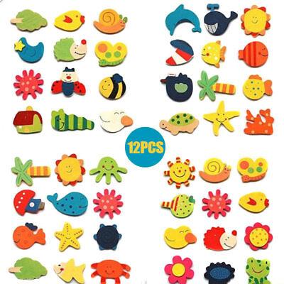 12 Teile Kühlschrankmagnet Holz Cartoon Tiere Pädagogisches Lernen Spielzeug NEU (Kühlschrank-magnete Lernen)