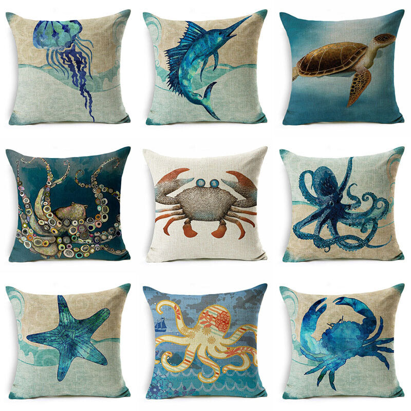 Ocean /& Letters Pattern Linen Bed Sofa Pillow Case Cushion Cover Colorful #2