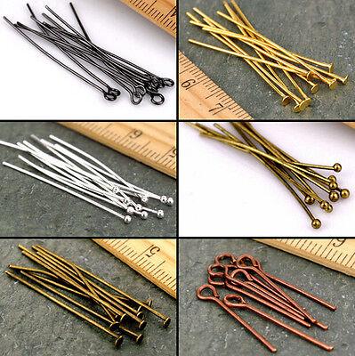 Lot Silver Gold Eye Pin Flat Head Pin Assortment Ball Pin Finding 16-60mm Jewely