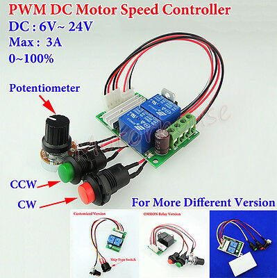 Dc 6v-24v 12v 18v 3a Pwm Motor Speed Controller Driver Cw Ccw Reversible Switch