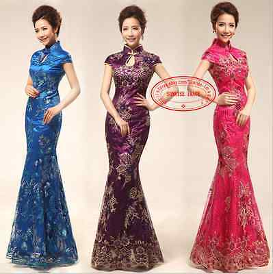 Cheongsam Evening Gown - Bride Cheongsam Mermaid Formal Evening Prom Party Dress Gown Chinese dress F715