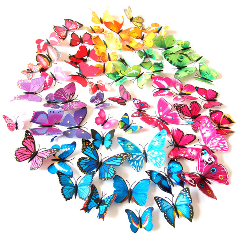 Home Decoration - 12pcs 3D Decal Colourful Butterflies Wall Stickers Home Room Decoration Kids