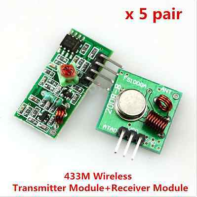 5pair 433mhz Rf Transmitter And Receiver Kit For Arduino Arm Mcu Remote Control