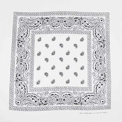 "Paisley Cotton SOLID Bandana SCARF Bandanna Black White Red Green All COLORS 22"" on Rummage"