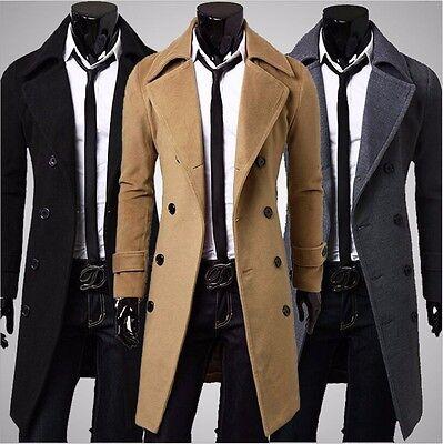 Men's Slim Stylish Trench Coat Winter Long Jacket Double Breasted Overcoat New