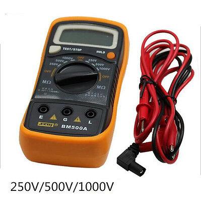 BM500A 1000V Digital Insulation Resistance Tester Meter Megohmmeter Megger 1999M