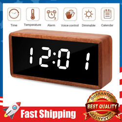 Desk Digital Clock Solid Wood LED w/ Large Display,12/24Hr, 3 Alarms for Kids
