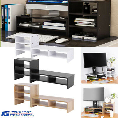 TV Computer Monitor Riser Stand Desk Organiser Large Keyboard Storage Box+shelf