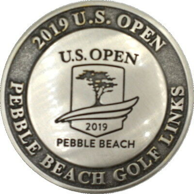 2019 US OPEN (Pebble Beach) MILLED Dome BALL MARKER COIN and LEATHER TOTE
