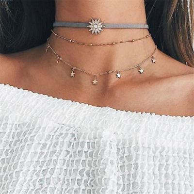 Fashion Women Sun Star Tassel Copper Choker Multi Layer Leather Necklace Gift (Sunstar Gifts)