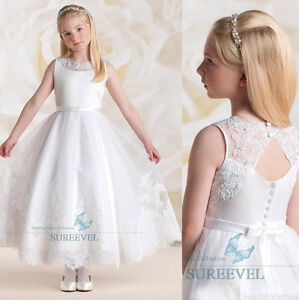 blanc robe de communion princesse fille mariage robe demoiselle d honneur enfant ebay. Black Bedroom Furniture Sets. Home Design Ideas
