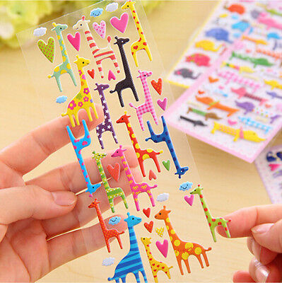 Lovely Cartoon 3D Bubble Sticker Cat Dog Giraffe Elephant for Kids Gift Toy NWCA