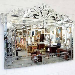 Miroir mural venitien 150x115cm style baroque italien for Recherche miroir mural