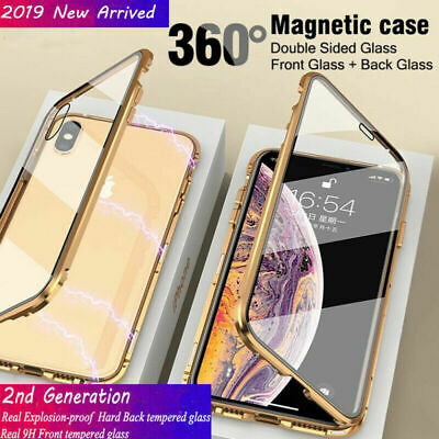 For iPhone Xs Max XR 7 8 Plus Magnetic Absorption Front+Back Tempered Glass Case