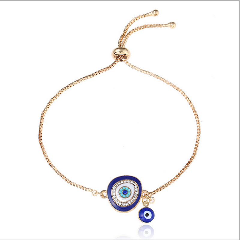 Fashion Gold Plated Blue Eye Drops Glaze Bracelet Chain Wome