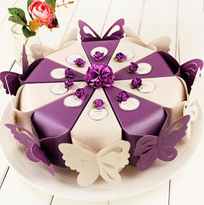 50X Butterfly Favor Gift Candy Boxes Cake Style Wedding Party Baby Shower B234C - Cake Favor Boxes
