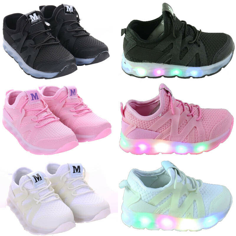 Details about Boys Girls Flash LED Child Toddler Kids Light Up Trainers  Lace Up Luminous Shoes b50b0593a05a