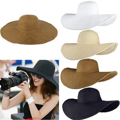 Women's Sun Straw Hat Wide Large Brim Floppy Derby Summer Beach Folding Cap UV - Women's Straw Beach Hats