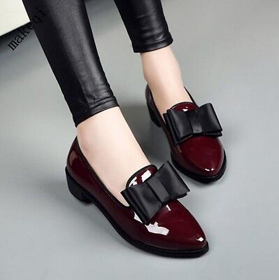 - Womens Sweet Bowknot Patent Leather Shoes Slip On Low Heel Pumps England College