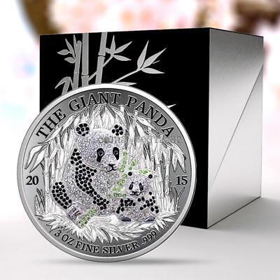 PAV GIANT PANDA 3oz UHR Silver Coin Proof With 311 Crystals Rwanda 2015 RARE - $300.00