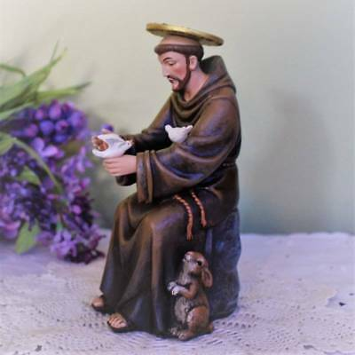 St. Francis of Assisi Statue with Birds Rabbit 6 inch Resin Hummel Design