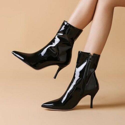 Womens High Heel Patent Leather Pointy Toe Side Zip Nightclub Ankle Boots 34-47