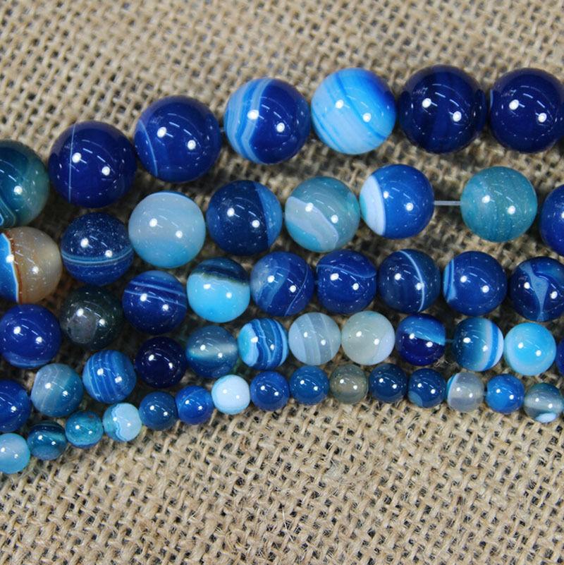 "12 mm Naturel à Rayures Bleu Agate Onyx Gemstone Round Bead Necklace 20/"""