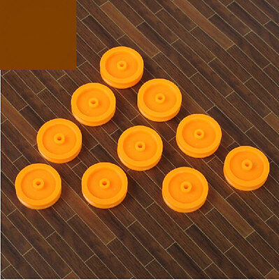 10pcs 16.8mm Yellow Round Hole Plastic Sheave Belt Pulley Timing Pulley For Diy