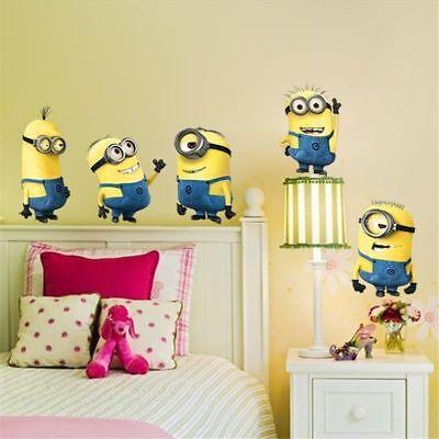 Minion Room Decor (5PCS Cute Minions Wall Sticker Home Kids Nursery Room Decor Decal Art)