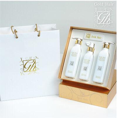 Korean HGS Gold Herbal Hair Loss Regrowth Shampoo & Tonic 100% Natural Set of 3