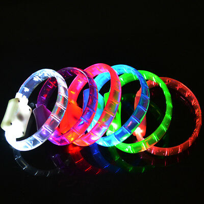 Set of 4 LED Light Up Bracelets Flashing Wristbands Party Favors Glowing Glow - Light Up Wristband
