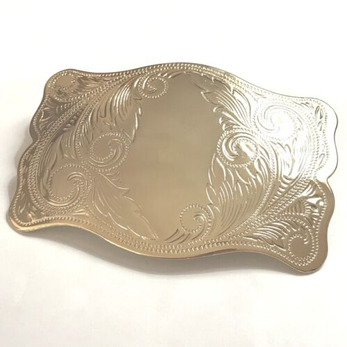 Vintage Gold Tone French Barrette Large Ornate Rectangular Clip Made in France