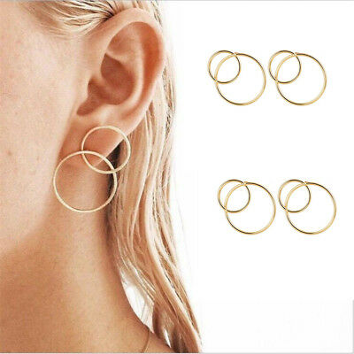 1 Pair Fashion Circle Round 8 Eight Dangle Earrings Brass Gold Tone for Women