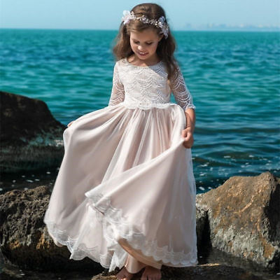 New Lace Flower Girl Dresses First Communion Dress for Little Girls Pageant Gown (Flower Girl Dresses For Little Girls)