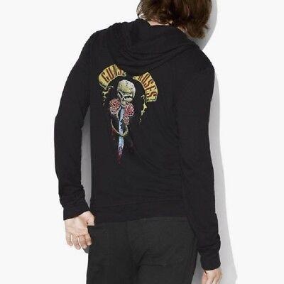 John Varvatos Star USA Men's Guns N Roses Graphic Zip Front Hoodie Jacket Black Hoodie Mens Black Guns