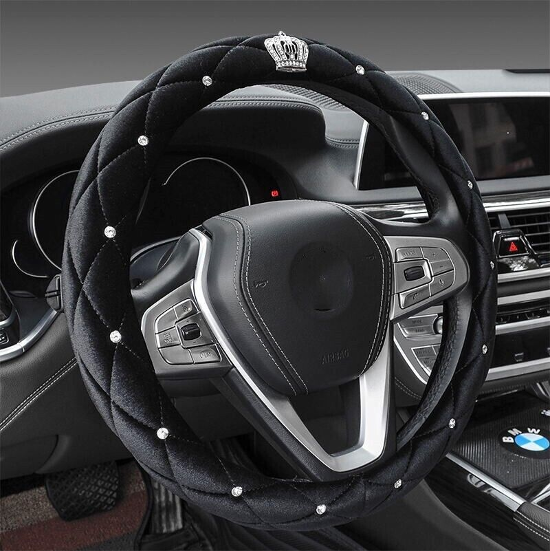 Winter Plush Car Steering Wheel Cover Bling Diamond Rhinestone Crown 38cm Luxury