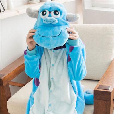 Sulley  Monster Onesie11 Kigurumi Fancy Dress Costume Hoody Adult Cosplay - Sulley Kostüm