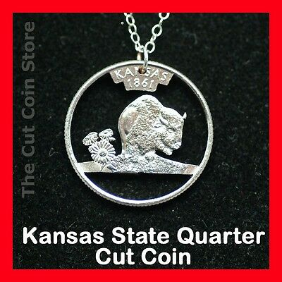 Cut Coin Jewelry Kansas Ks 25¢ Quarter Pendant Charm Necklace Sunflower Buffalo