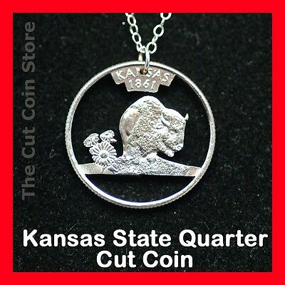 Cut Coin Jewelry Kansas Ks 25¢ Quarter Pendant Charm Necklace Sunflower Buffalo