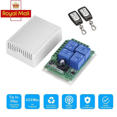 12V 4CH Channel 100M Wireless Remote Control Relay Switch Transceiver + Receiver