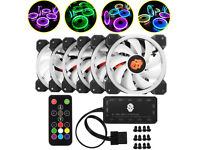 6-Pack RGB LED Quiet Computer Case PC Cooling Fan 120mm with Remote Control