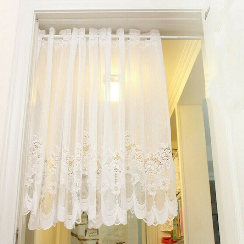 French Pastoral Guipure Voile Floral Lace Curtain Home Panel