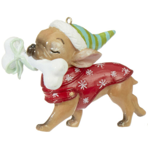 RAZ Imports Christmas Dog Ornament - Chihuahua with Bone - 3 x 2.5 x 1.5 inch