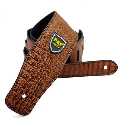 Adjustable Guitar Strap Leather Embossed Alligator Acoustic Electric Bass Brown