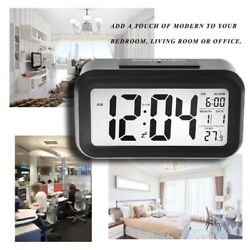 Digital Snooze LCD Alarm Clock Time Calendar Thermometer Backlight Battery-power