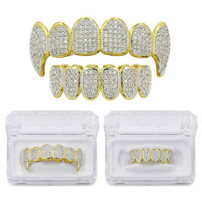 14K Gold Plated Hip Hop Iced Out CZ Grillz Fang Top & Bottom Grill Mouth Teeth