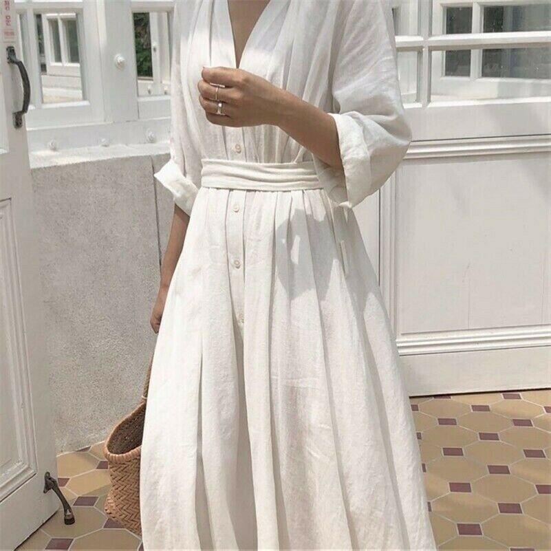 Womens Linen Cotton Dress V-neck Long Belt Button Loose Casual White Black Fairy